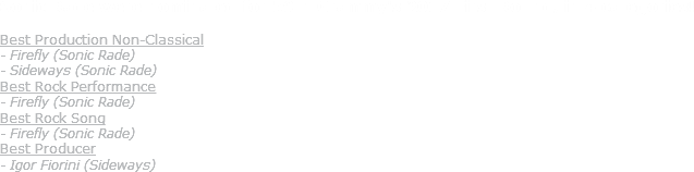 Sonic Rade were nominated for 59th Grammy's 2017 First Round, in 4 categories! Best Production Non-Classical - Firefly (Sonic Rade) - Sideways (Sonic Rade) Best Rock Performance - Firefly (Sonic Rade) Best Rock Song - Firefly (Sonic Rade) Best Producer - Igor Fiorini (Sideways)